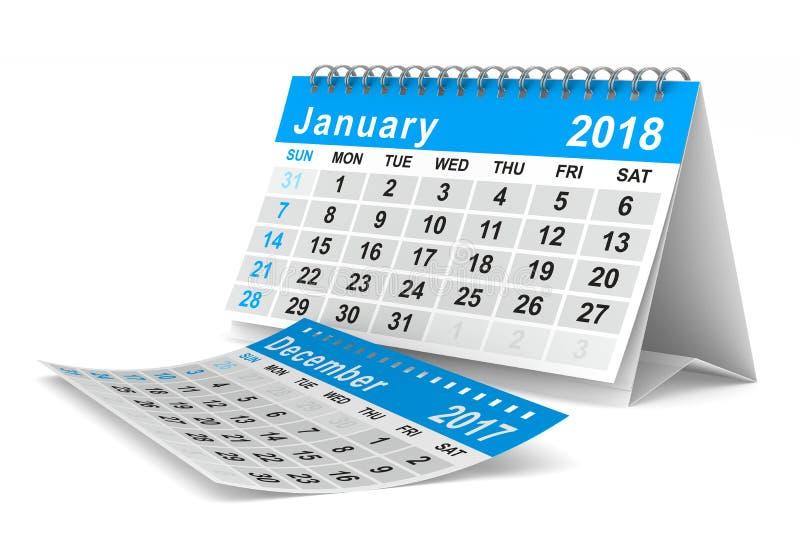 2018 år kalender januari Isolerad illustration 3d royaltyfri illustrationer