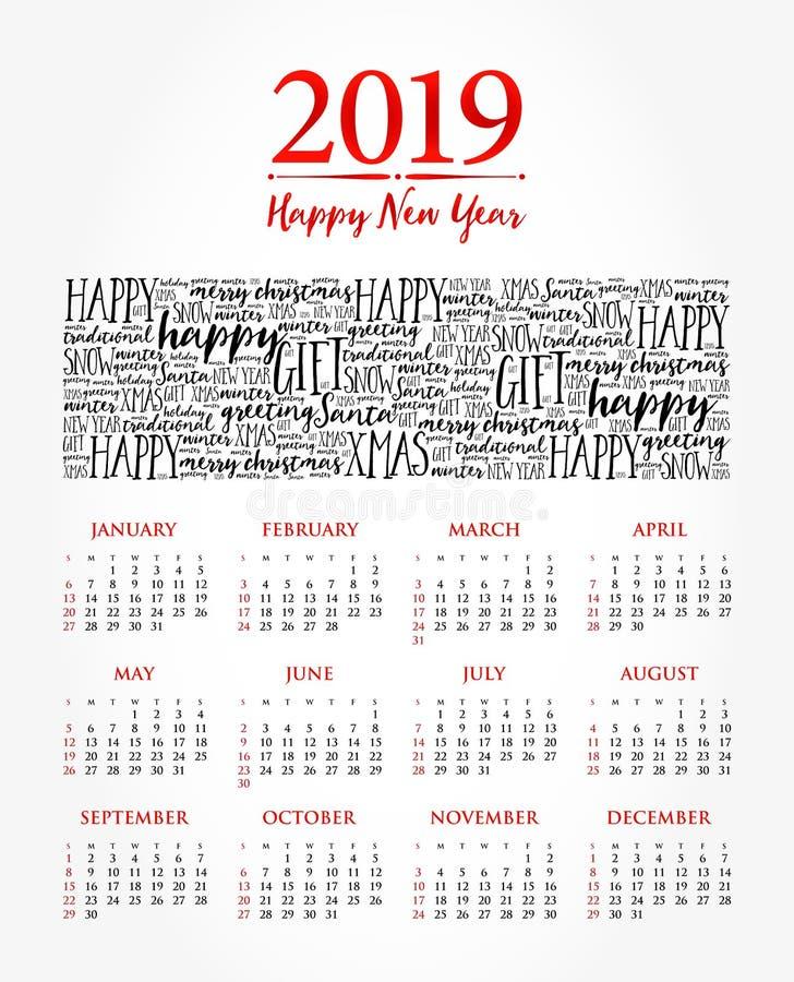 2019 år kalender, lyckligt nytt år royaltyfri illustrationer