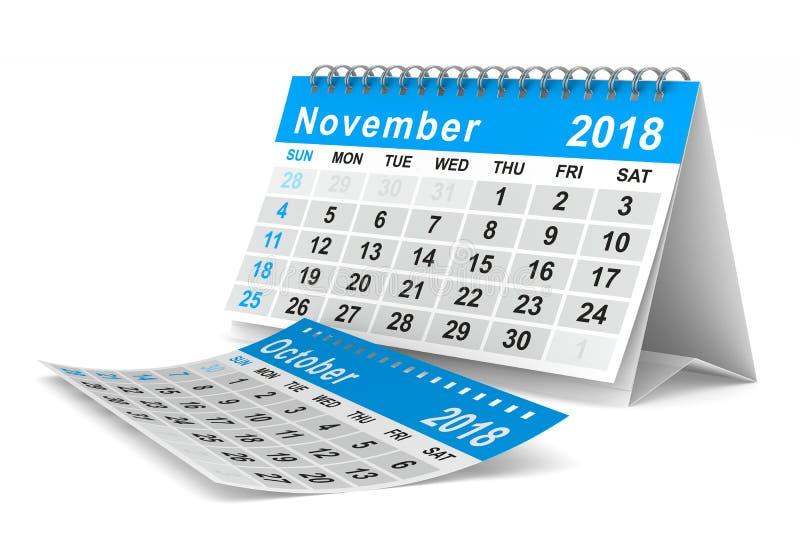 2018 år kalender november Isolerad illustration 3d stock illustrationer