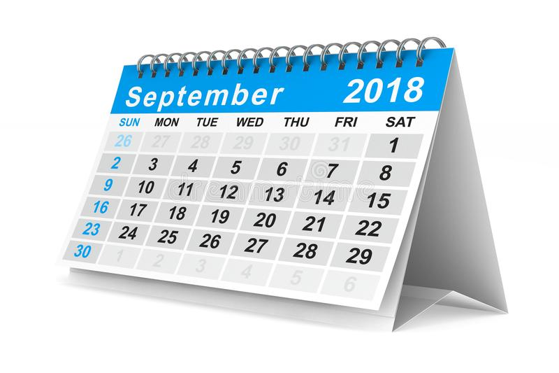2018 år kalender september Isolerad illustration 3d stock illustrationer