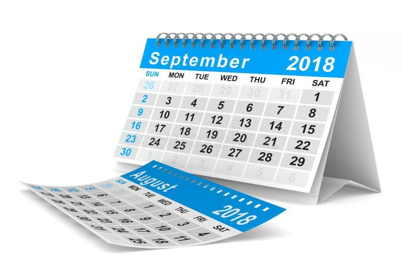 2018 år kalender september Isolerad illustration 3d royaltyfri illustrationer
