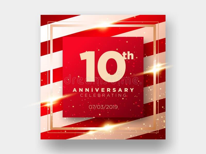 10 år kort för årsdagberömvektor 10th årsdag royaltyfri illustrationer