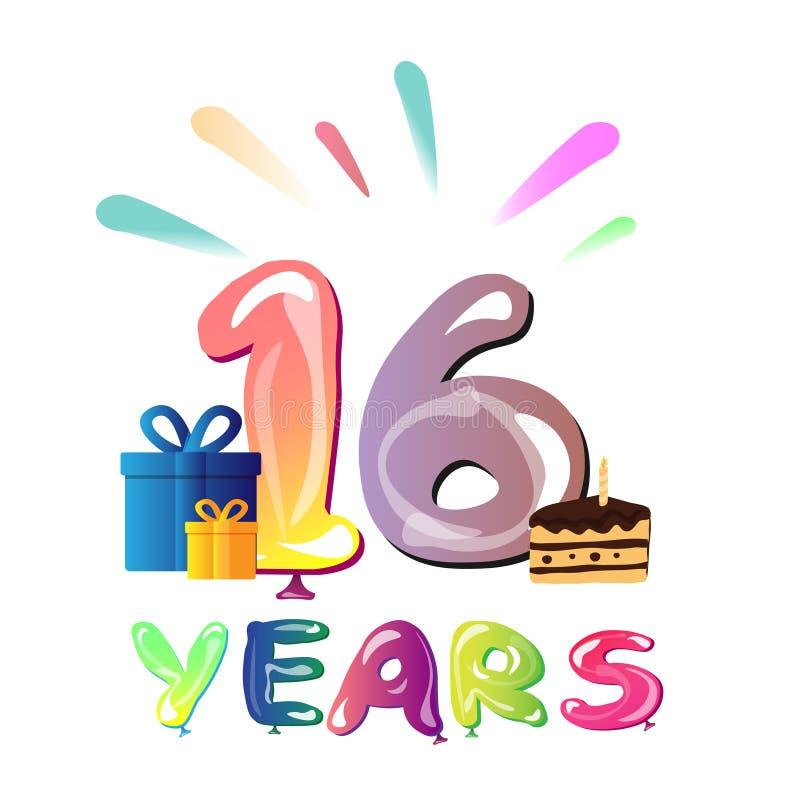 16 år kort för födelsedagberömhälsning stock illustrationer