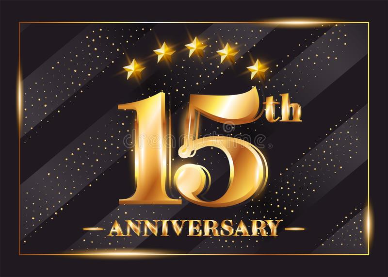 15 år logo för årsdagberömvektor 15th årsdag stock illustrationer