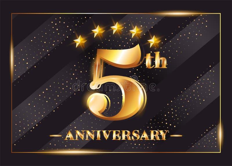 5 år logo för årsdagberömvektor 5th årsdag stock illustrationer