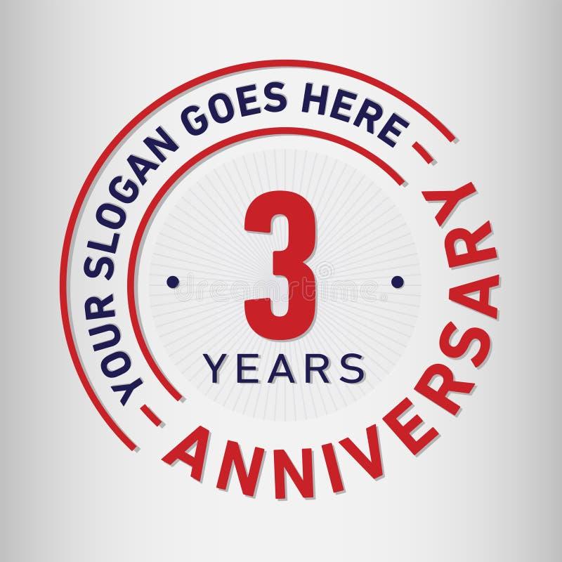 3 år mall för årsdagberömdesign Årsdagvektor och illustration Tre år logo royaltyfri illustrationer