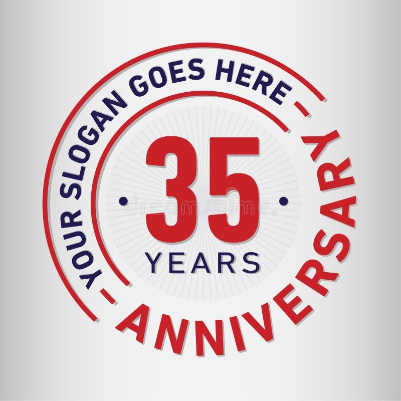 35 år mall för årsdagberömdesign Årsdagvektor och illustration Trettiofem år logo stock illustrationer