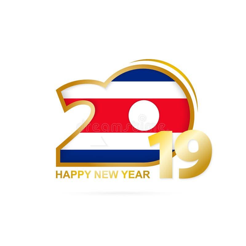 År 2019 med den Costa Rica Flag modellen lyckligt nytt år för design stock illustrationer