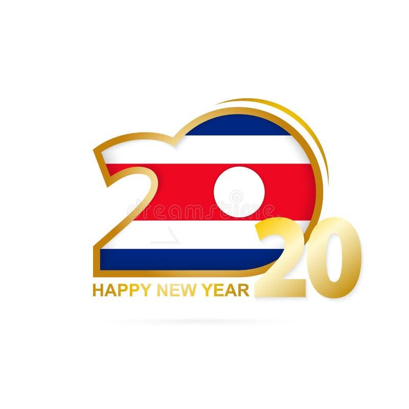 År 2020 med den Costa Rica Flag modellen lyckligt nytt ?r f?r design vektor illustrationer