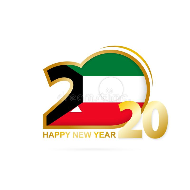 År 2020 med den Kuwait flaggamodellen lyckligt nytt ?r f?r design stock illustrationer