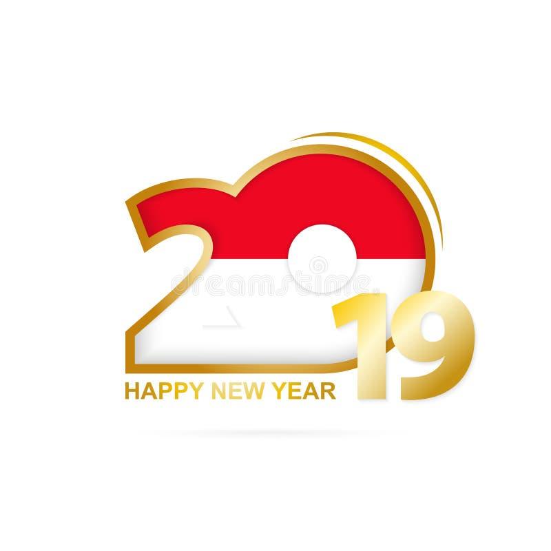 År 2019 med den Monaco flaggamodellen lyckligt nytt år för design stock illustrationer