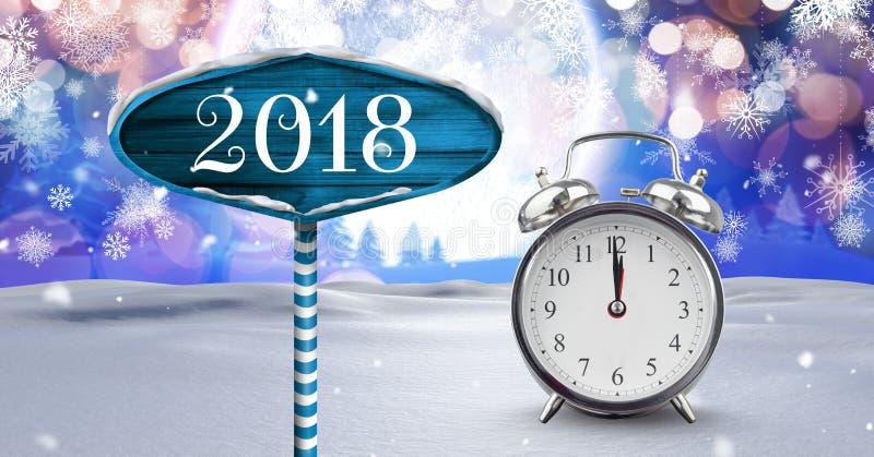 2018 år och den midnatta klockan med trävägvisaren i jul övervintrar landskap vektor illustrationer