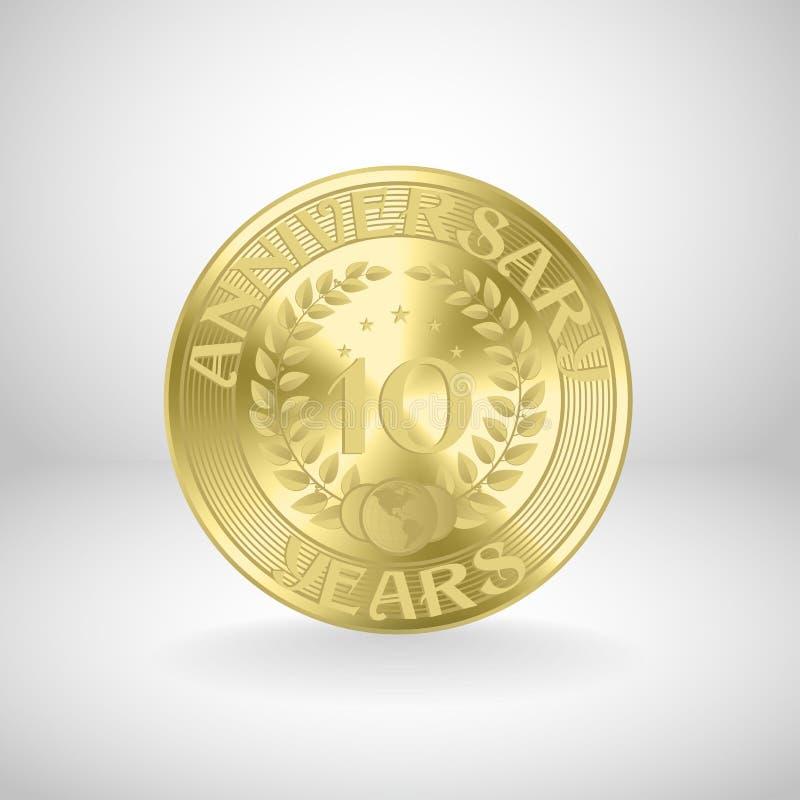 10 år guld- årsdag myntar stock illustrationer