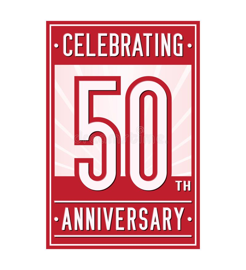 50 år som firar årsdagdesignmallen 50th logo Vektor och illustration vektor illustrationer