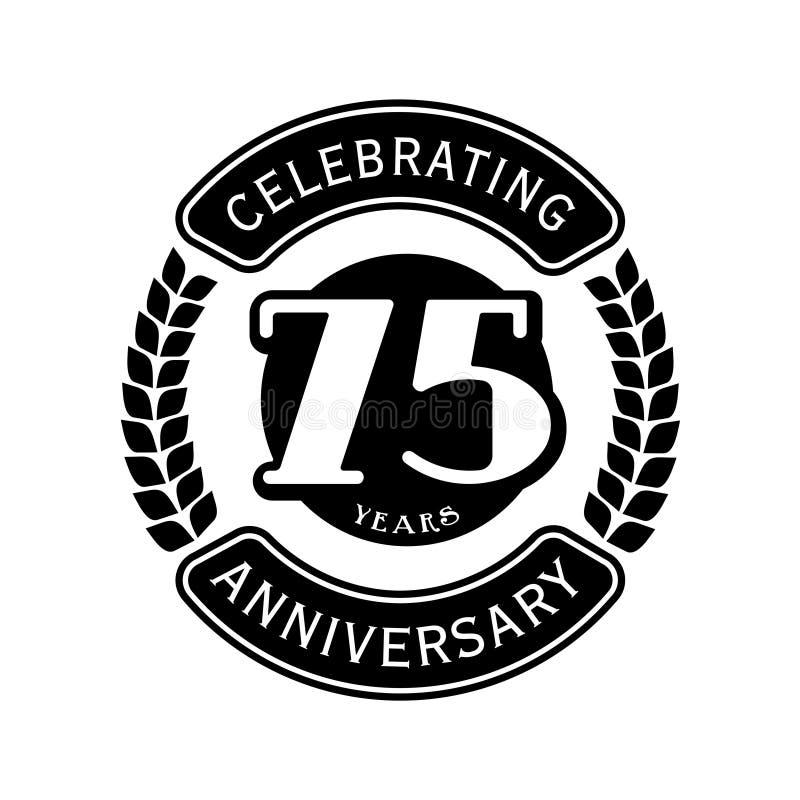 75 år som firar årsdagdesignmallen 75th logo Vektor och illustration royaltyfri illustrationer