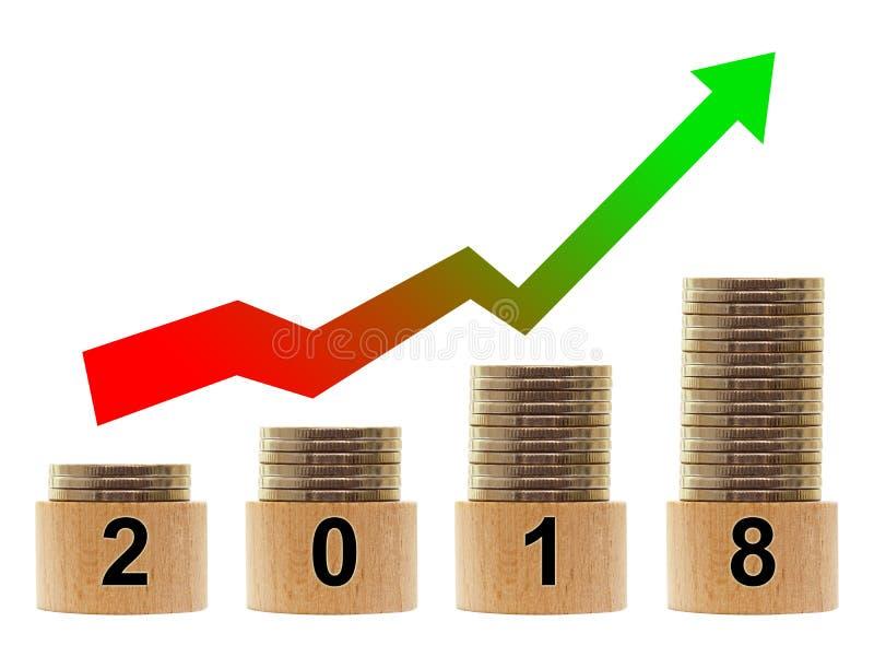 2018 år statistik med pilen royaltyfri bild