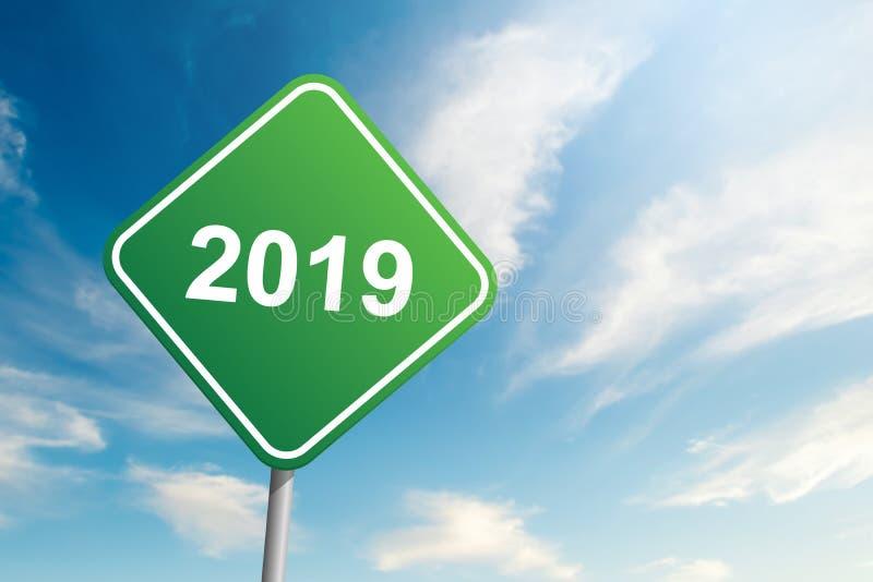 2019 år vägmärke med bakgrund för blå himmel och moln royaltyfri bild