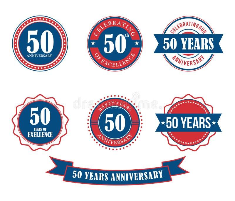 50 år vektor för stämpel för årsdagemblememblem royaltyfri illustrationer