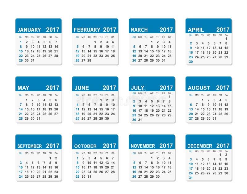 2017 år vektorkalender vektor illustrationer