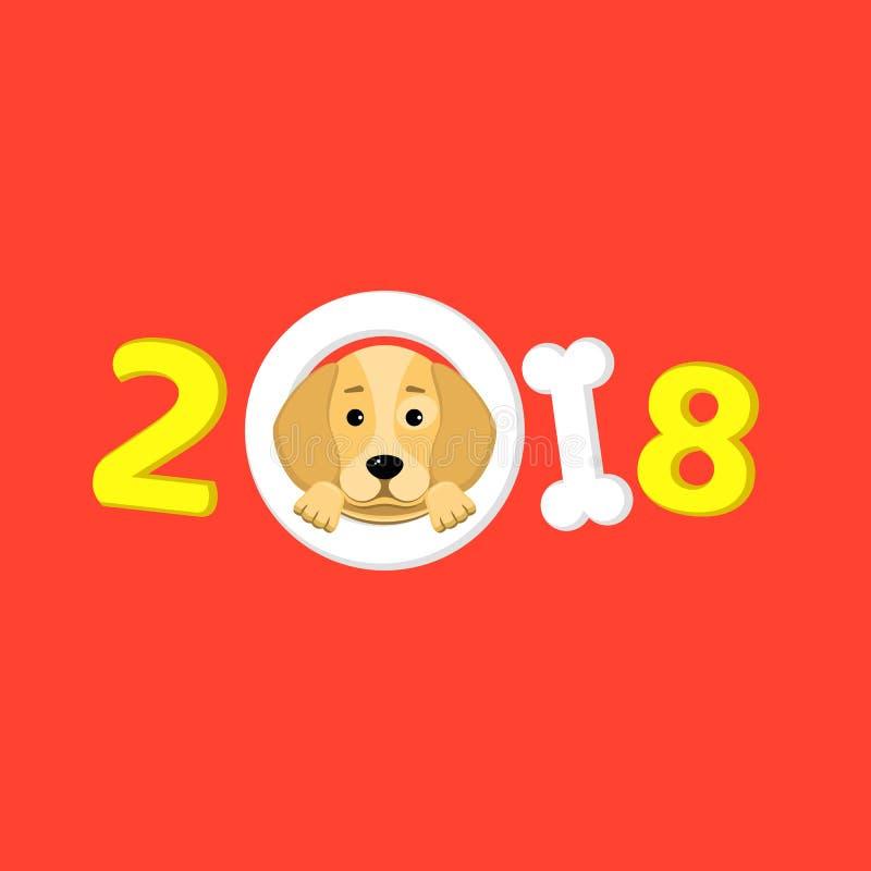 Året 2018 är en gul jordhund Älskvärda blickar för en tecknad filmhund Tecknad filmdiagram Röd bakgrund Räkning för kalendern Vek stock illustrationer