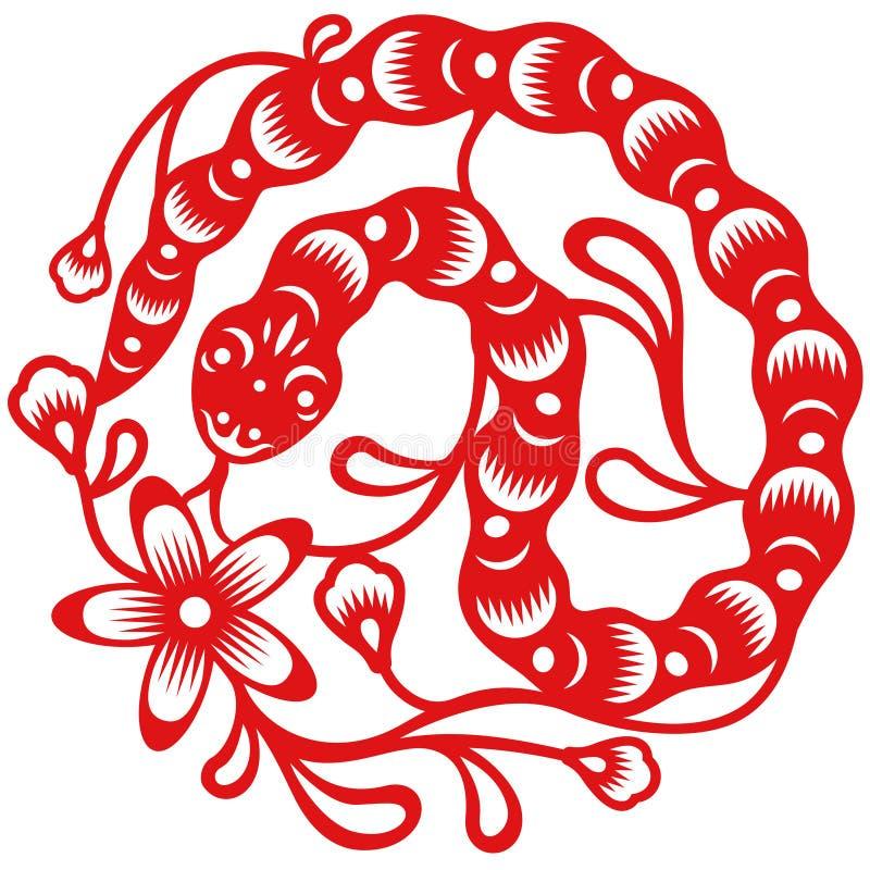 Året av ormen, klippte orientaliskt papper stil stock illustrationer