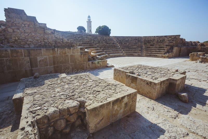Århundrade för Odeon amfiteater III Cypern gränsmärke royaltyfri fotografi