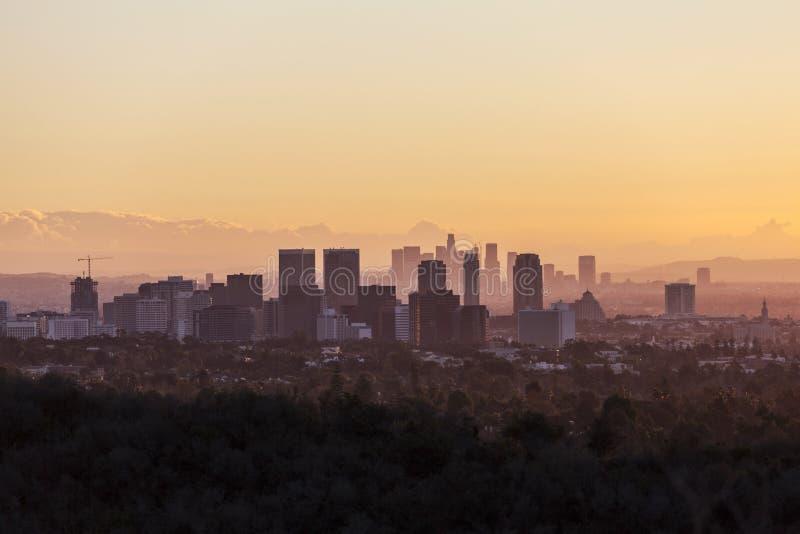 Århundradestad och Los Angeles gryning arkivbilder