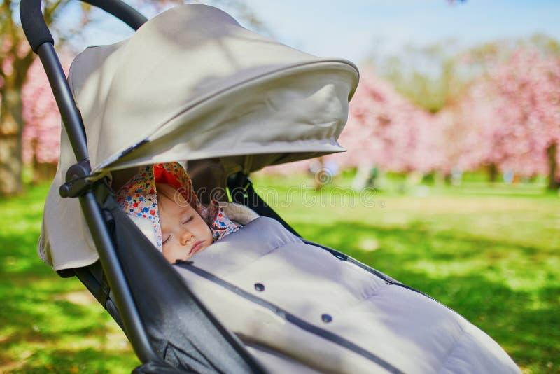 Årig en behandla som ett barn flickan som sover i pushchair parkerar in royaltyfria foton