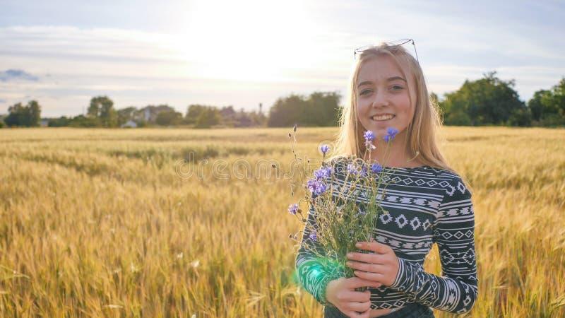 Årig tonåring för flicka sexton med blommor av blåklinter som poserar i ett vetefält fotografering för bildbyråer