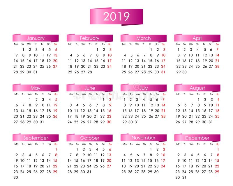 Årlig kalender för 2019 år med rosa färgerna royaltyfri illustrationer