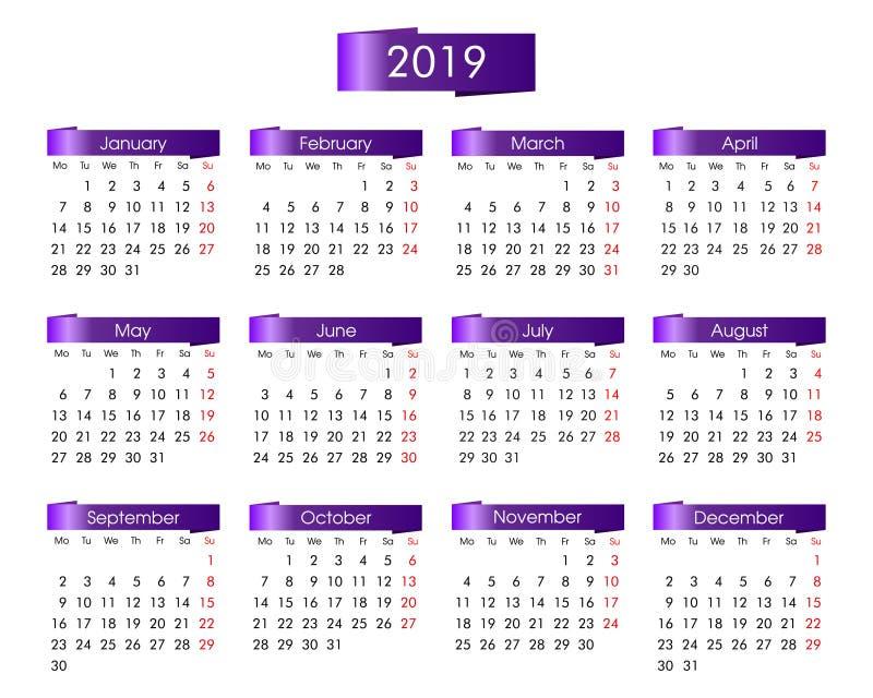 Årlig kalender för 2019 år med violeten, lila royaltyfri illustrationer