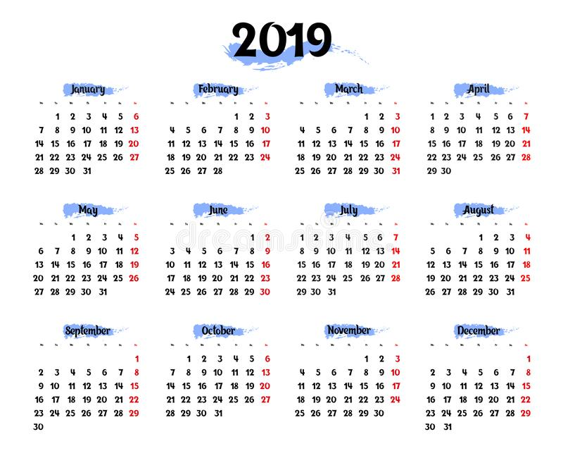 Årlig kalender för 2019 med blåa markerande beståndsdelar vektor illustrationer