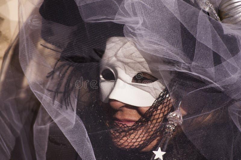 Årlig karneval på staden av Venedig, Italien arkivbild