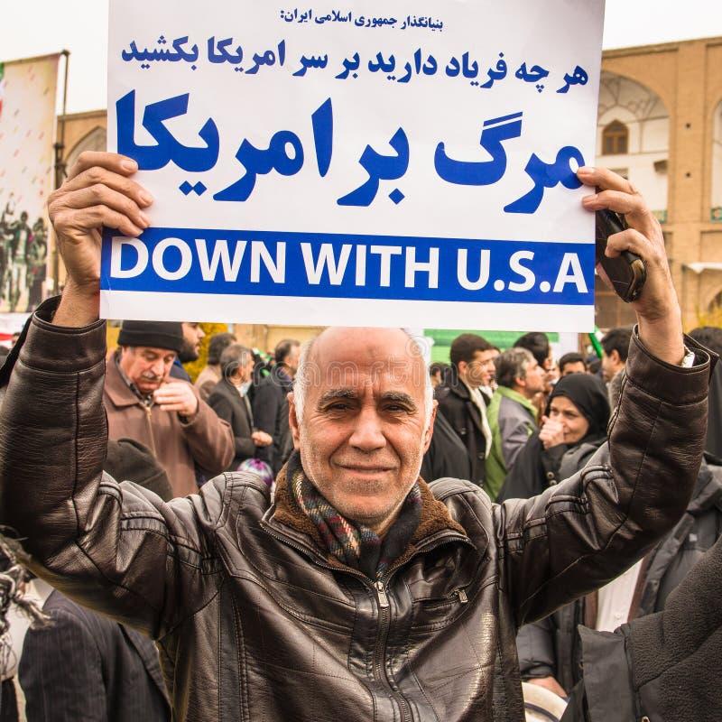 Årlig revolutiondag i Esfahan, Iran royaltyfria foton