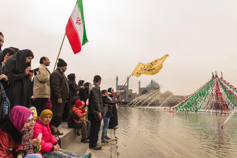 Årlig revolutiondag i Esfahan, Iran royaltyfri foto