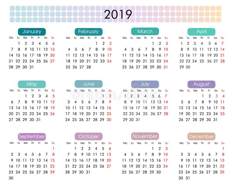 2019 årliga kalender i en minimalist geometrisk stil vektor illustrationer
