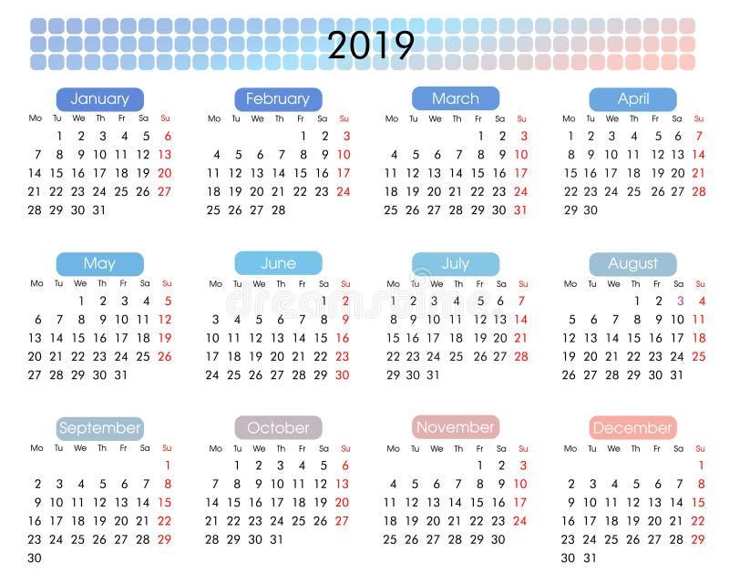 2019 årliga kalender i en minimalist geometrisk stil royaltyfri illustrationer