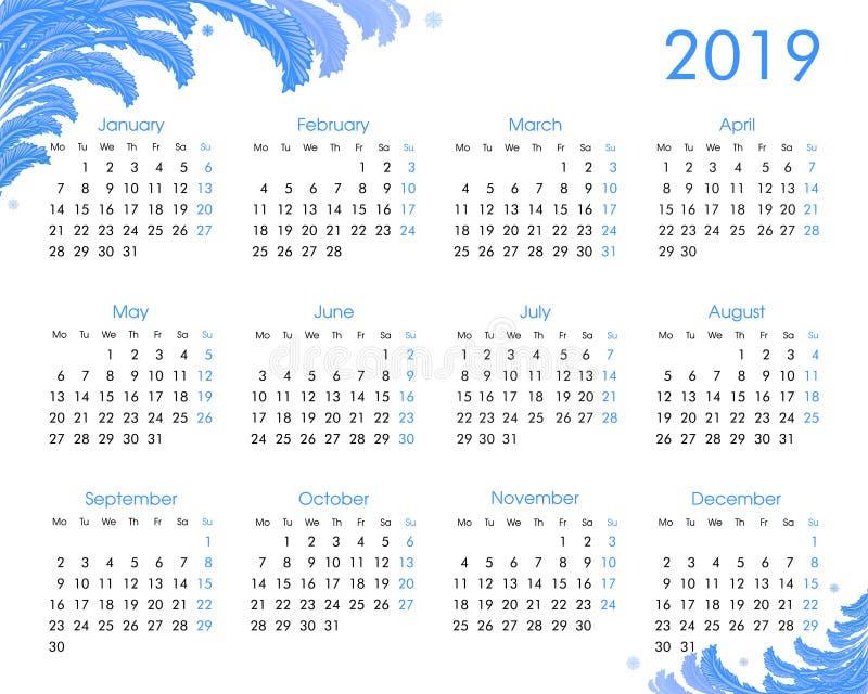 2019 årliga kalender med frostiga modeller vektor illustrationer