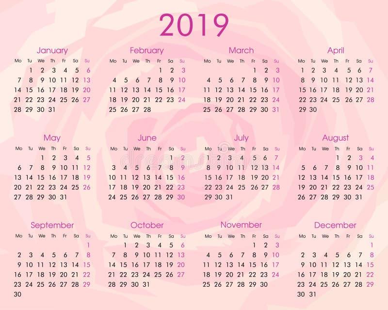 2019 årliga kalender på rosen royaltyfri illustrationer