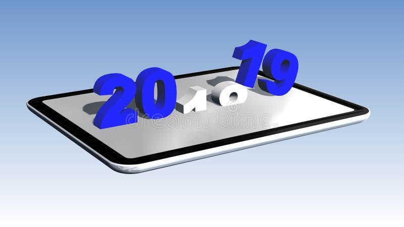 Årsändring till 2019 som är ordnad på en minnestavla royaltyfri illustrationer