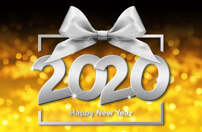 2020 års glad text med nya årtal i rutor med silverfärgat band isolerat på guldfärgad, suddig julklampa, bakgrund vektor illustrationer