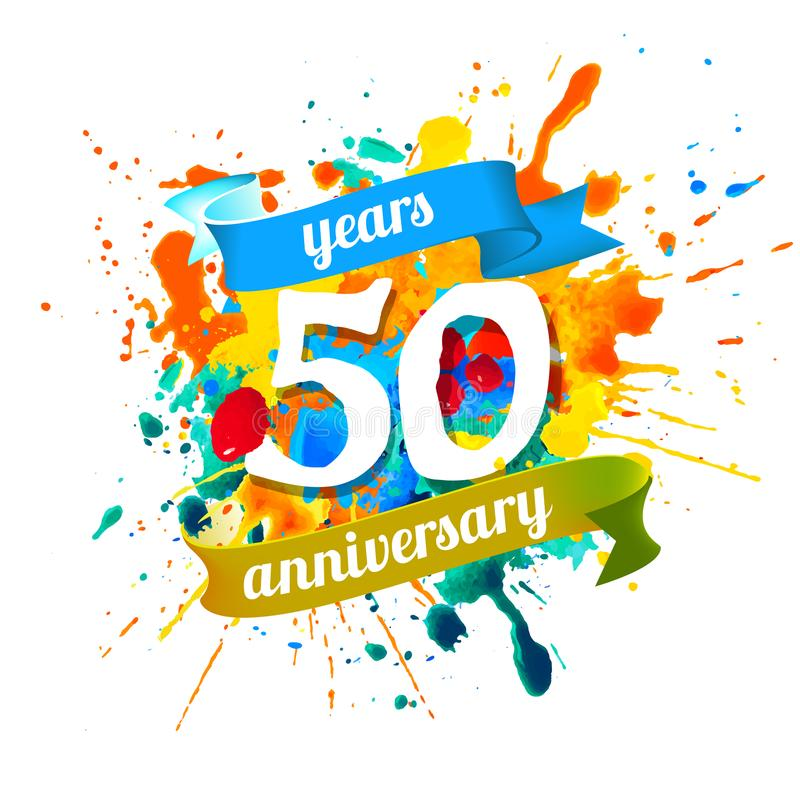 50 årsdagår Färgstänkmålarfärg royaltyfri illustrationer