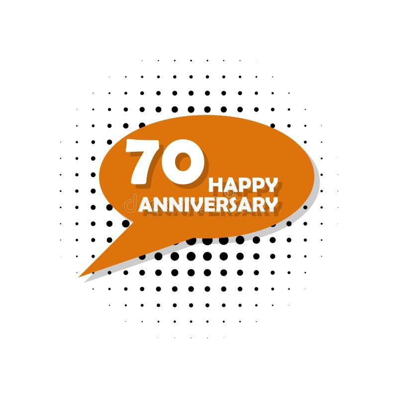 Årsdag 70 år mångfärgad symbol Kan användas för rengöringsduken, logoen, den mobila appen, UI, UX royaltyfri illustrationer