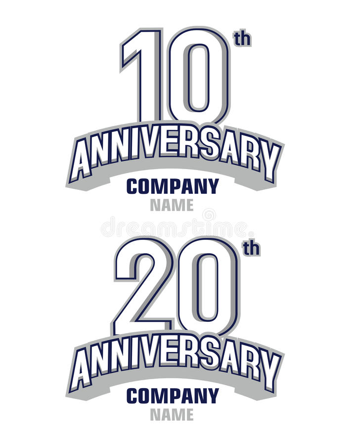 Årsdag 10 år och 20 år stock illustrationer