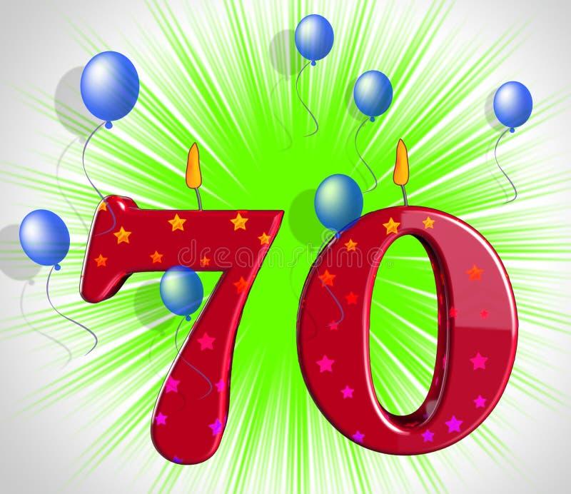 Årsdag för parti för nummer sjuttio genomsnittligt specialt eller födelsedagparti royaltyfri illustrationer