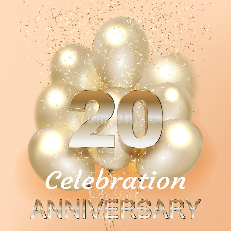 20 årsdag Logo Celebration med ballongen och konfettier som isoleras på ljus bakgrund stock illustrationer