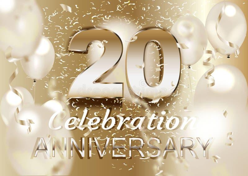20 årsdag Logo Celebration med ballongen och konfettier som isoleras på ljus bakgrund royaltyfri illustrationer