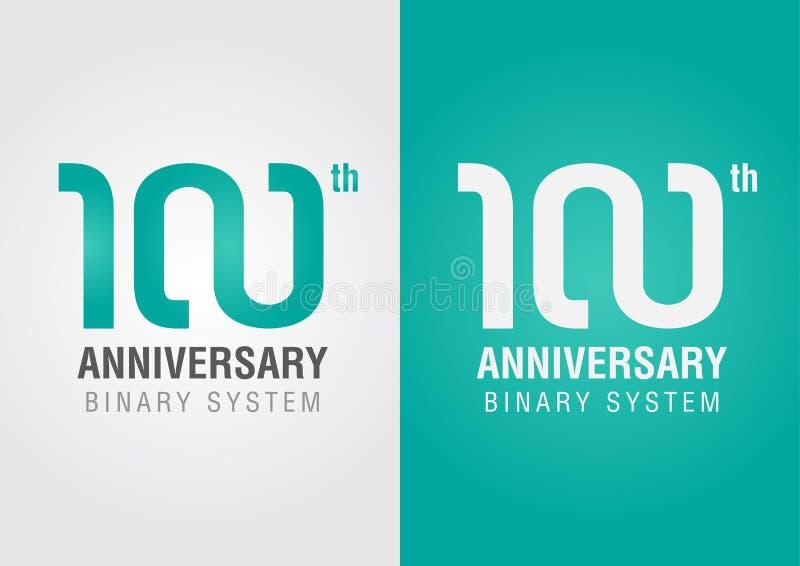100. årsdag med ett oändlighetssymbol idérik design stock illustrationer