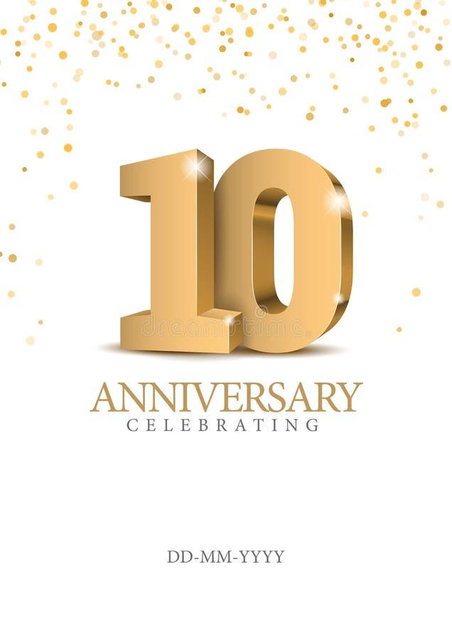 Årsdag 10 nummer för guld 3d stock illustrationer