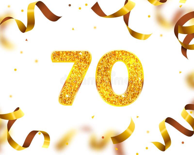 Årsdagbaner 70th, guld- bandfluga vektor stock illustrationer